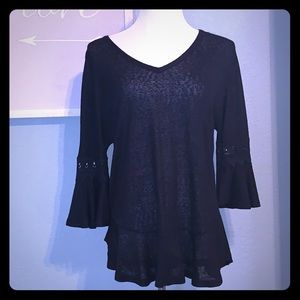 High low bell sleeve top